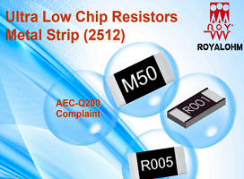 Royalohm – New product: Ultra Low Chip Resistors Metal Strip